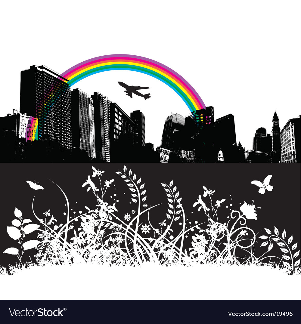 Floral city rainbow plane vector