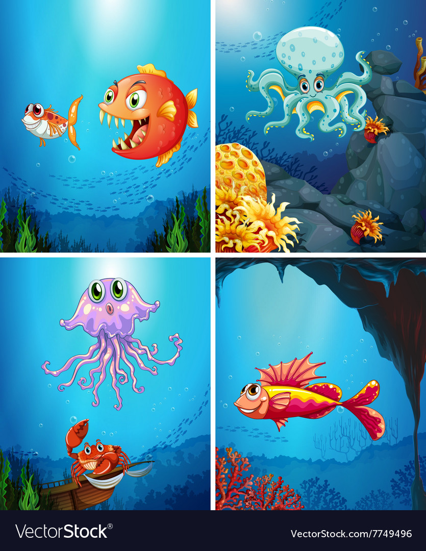 Four scenes of sea animals in the sea vector