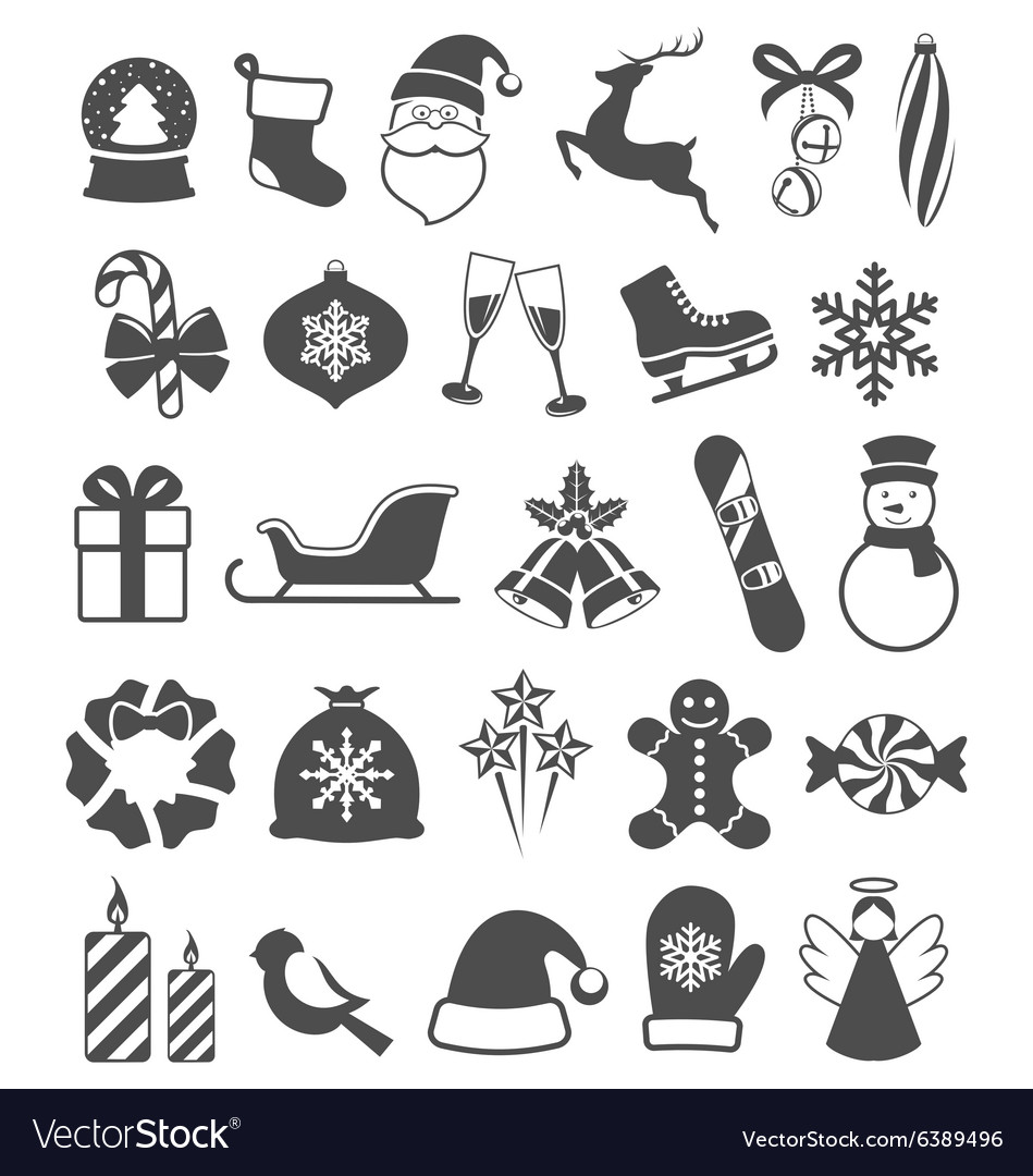 Set of christmas winter flat black icons isolated vector