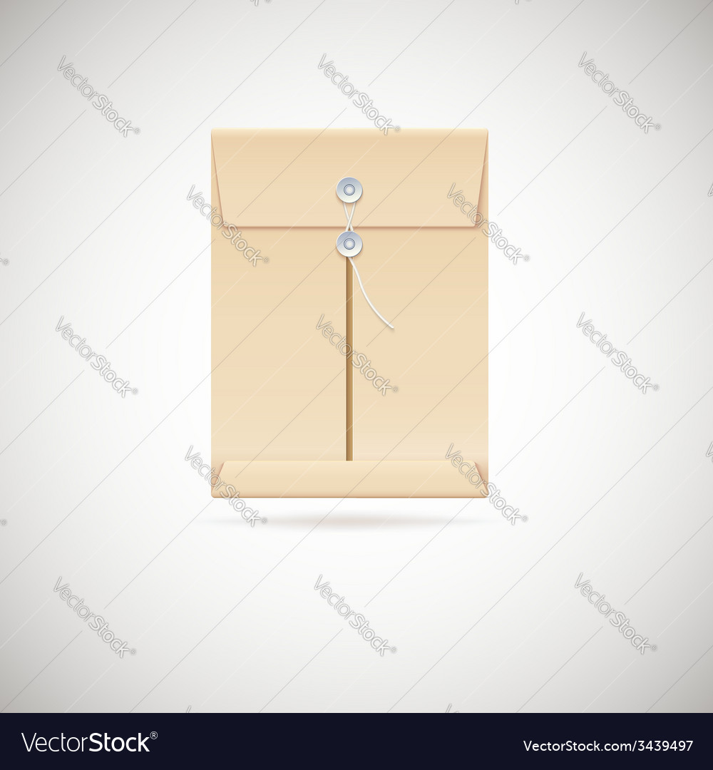Realistic manila envelope isolated on white vector