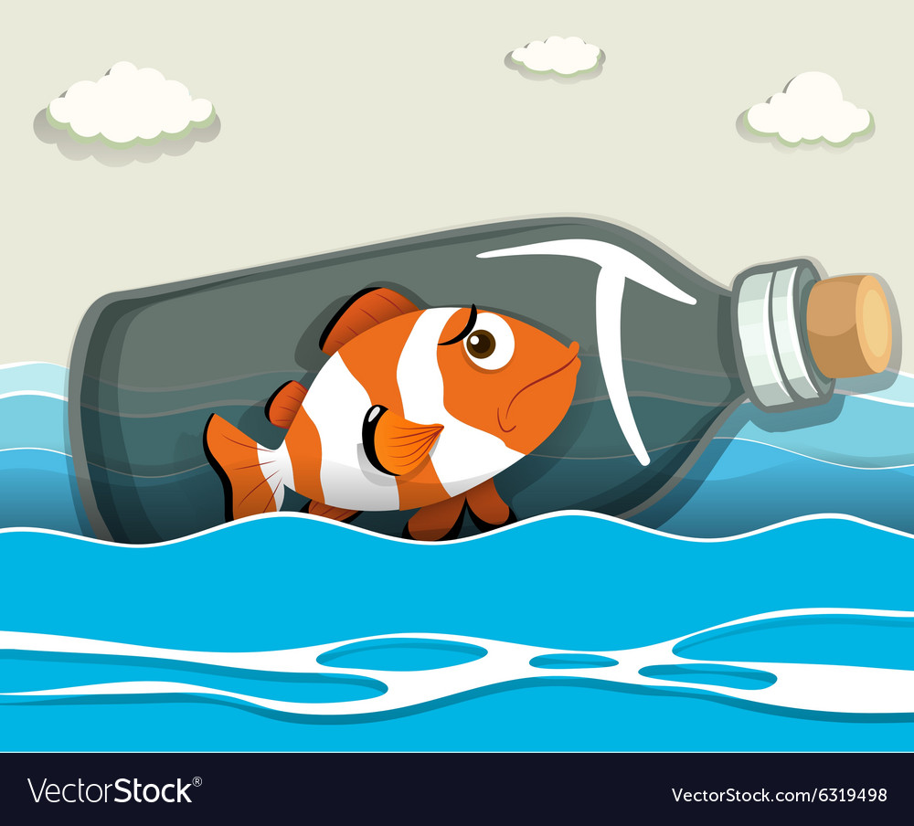 Clownfish in the bottle at sea vector