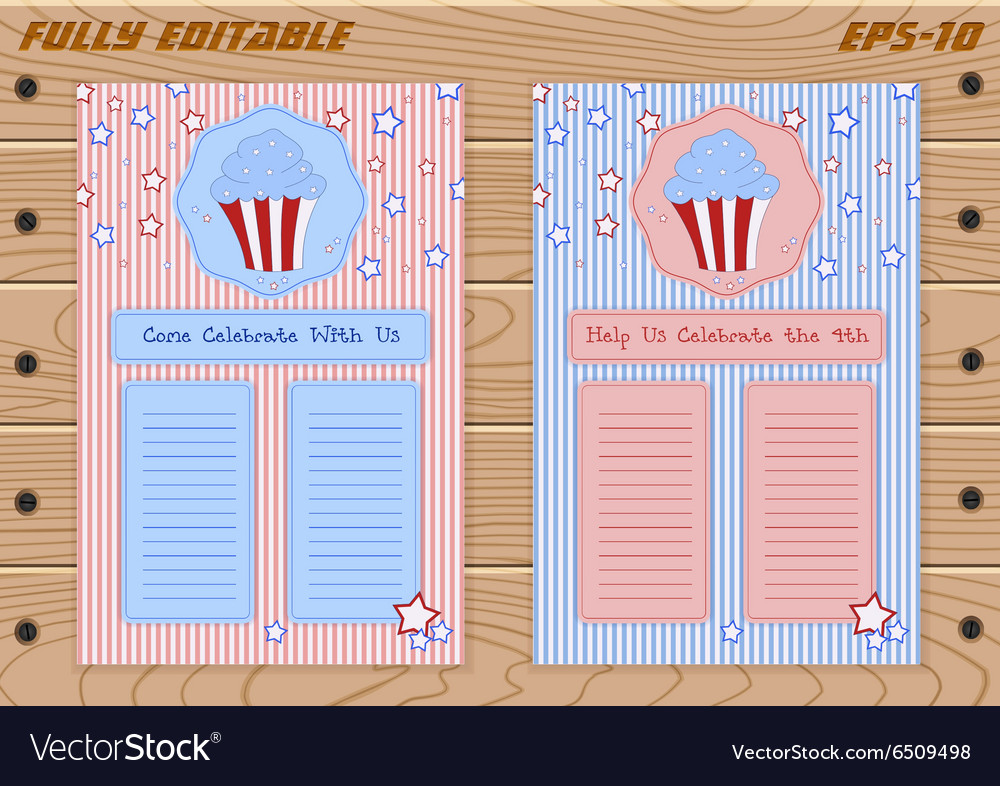 Set of templates with cute hand drawn cupcake vector