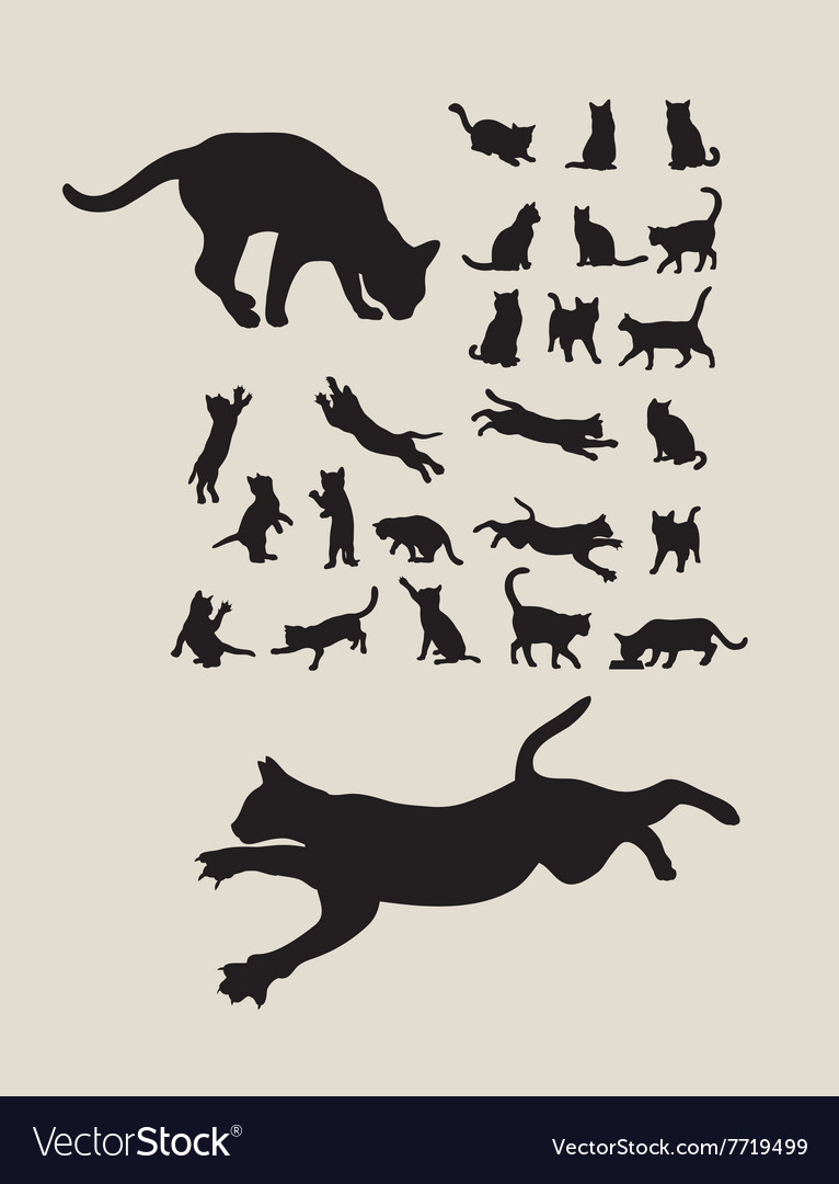 Cats silhouettes set vector