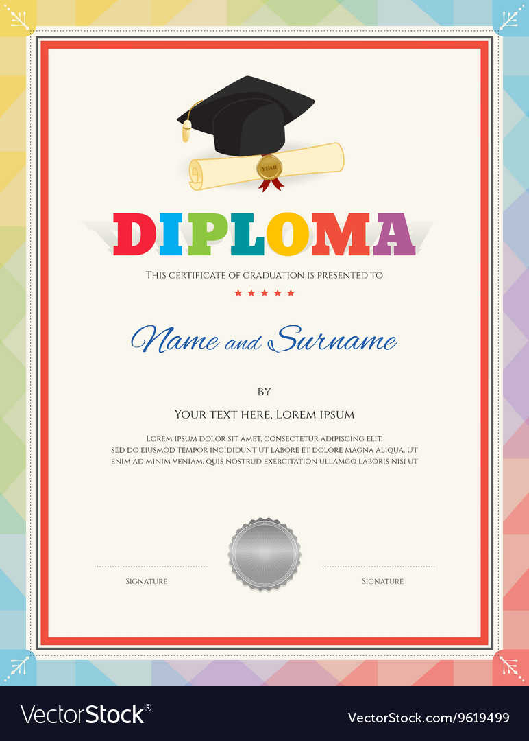 Colorful school kid diploma certificate template vector