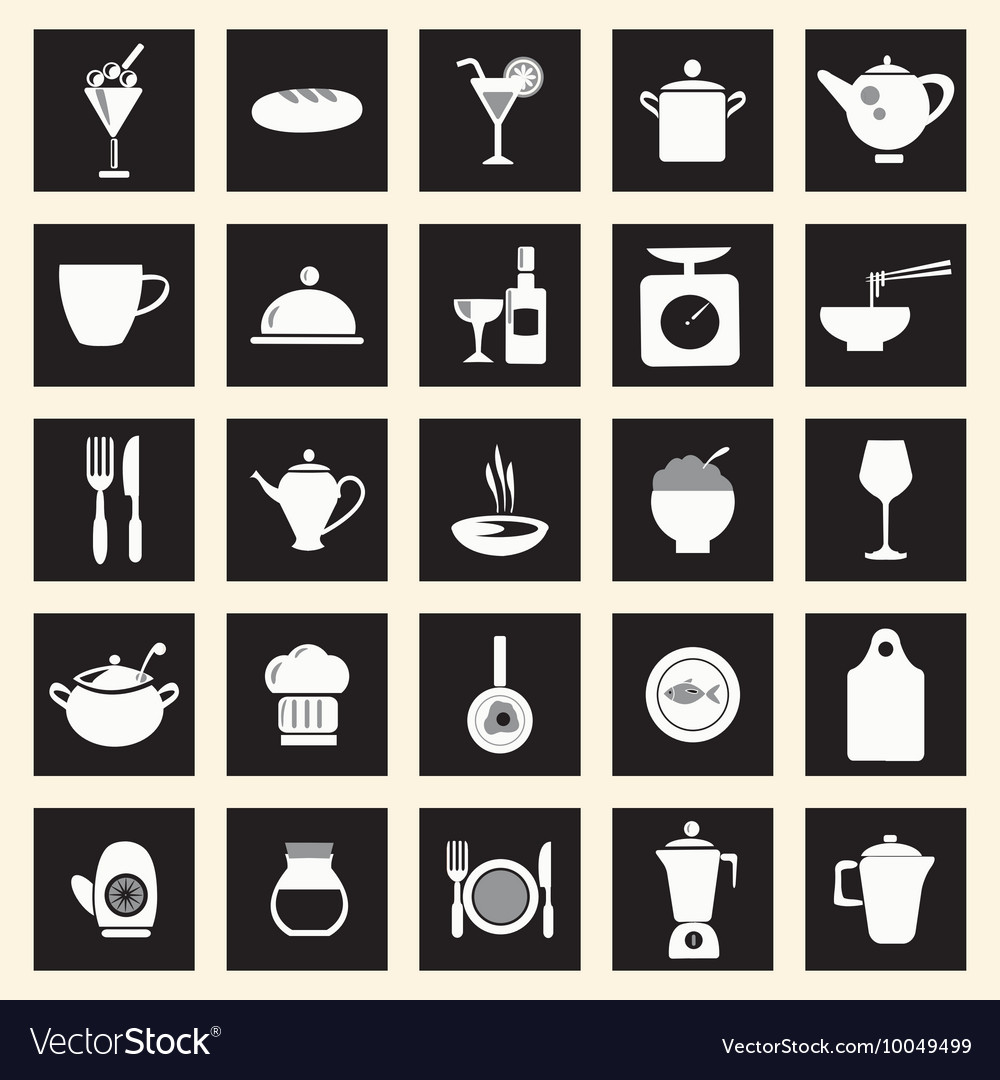 Icons set kitchenrelated utensils icons vector