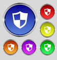 shield icon sign Round symbol on bright colourful vector image
