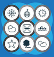 set of 9 eco-friendly icons includes cloud vector image