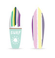 surfboard set with variuus icon on it color vector image vector image