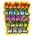 Cartoon comic doodle font alphabet vector image