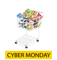 Computer Hardware in Cyber Monday Shopping Cart vector image vector image