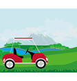 Golf cart at the beautiful golf course vector image
