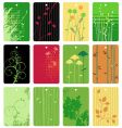 colorful floral tags vector image vector image