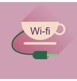 Flat icon with long shadow Wi fi Cup vector image