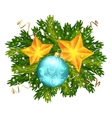 Christmas ball and stars isolated vector image