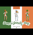 Girl with beer silhouette against irish colors St vector image