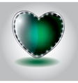 green heart shaped glass button on valentin vector image