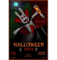 Halloween Party banner with vampire rabbit vector image