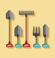 set equipment tool gardening work vector image