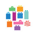 set of different gift boxes presents isolated on vector image