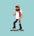 skater with alcohol skating vector image