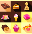sweets icons set flat style vector image