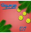 Tennis balls on Christmas tree branch vector image