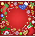 christmas decoration frame on red background vector image vector image