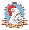chicken emblem ribbon vector image