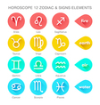zodiac signs elements flat style vector image