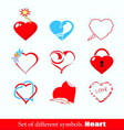 set of symbols heart vector image vector image