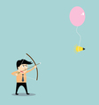 businessman aiming at idea with bow and arrow vector image