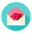 envelope with hearts circle icon vector image