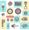 Set of auto spare parts Car repair icons in flat vector image