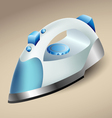 Blue steam iron vector image vector image