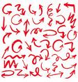 Red Hand Drawn Arrows Set vector image vector image