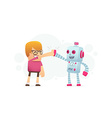 man and the robot best friends vector image vector image