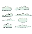 Hand drawn vintage blue clouds vector image