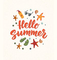 hello summer text with beach elements sunscreen vector image