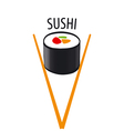 logo Japanese sushi and chopsticks vector image