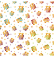 Seamless background with gift boxes in four colors vector image