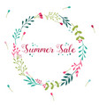 summer sale floral wreath with hand drawn elements vector image