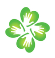 Shamrock and hands logo vector image