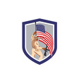 Soldier Military Serviceman Holding Flag Rifle vector image