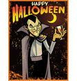 halloween greeting card with dracula vector image