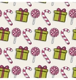 Christmas pattern with pink candy and gifts vector image
