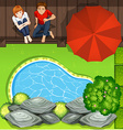 Couple sitting near pond aerial perspective vector image