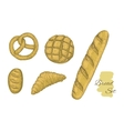 Collection of hand drawn bakery objects vector image