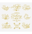 Flat bakery symbols gold vector image vector image