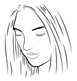black and white of a pretty girl vector image