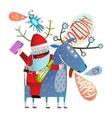 Funny Monster Santa Claus sitting on Deer Greeting vector image